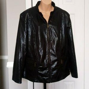 Joni B Faux Black Reptile Zip Up Jacket SZ 1X